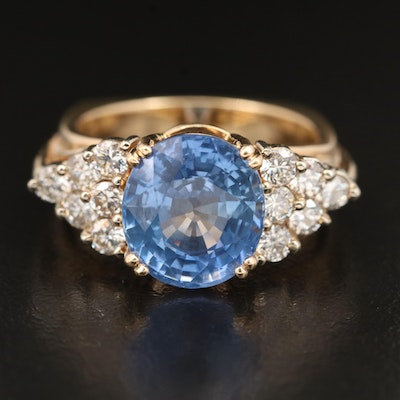 14K 7.36 CT Sapphire and Diamond Ring with Euro Shank