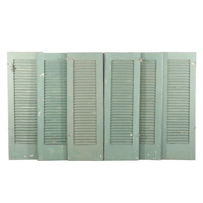 Set of Six Green Painted Wood Shutters