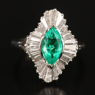 Platinum Emerald and 1.96 CTW Diamond Ballerina Ring