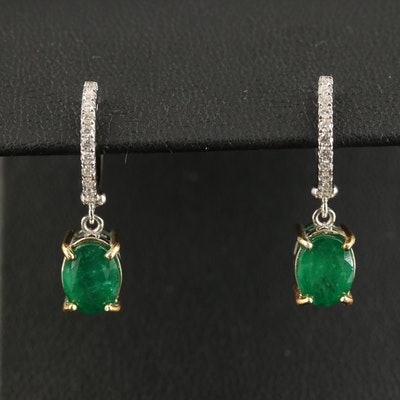 14K 2.84 CTW Emerald and Diamond Dangle Earrings