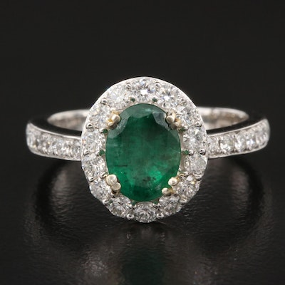 14K 1.50 CT Emerald and 1.10 CTW Diamond Halo Ring