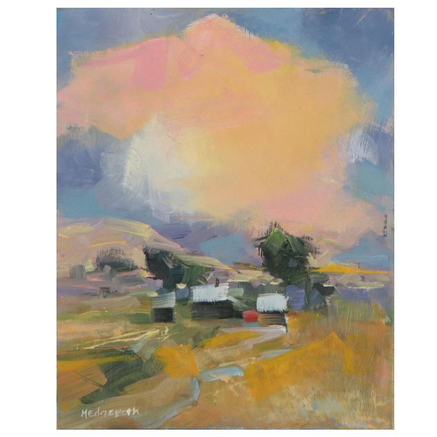 "Stephen Hedgepeth Oil Painting ""Farm At Sunset,"" 21st Century"