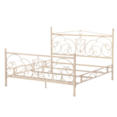 Distressed Finish Scrolled Metal King Size Bed Frame
