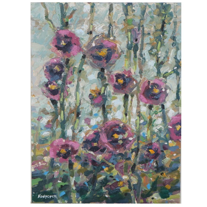 "Stephen Hedgepeth Oil Painting ""Hollyhocks,"" 21st Century"