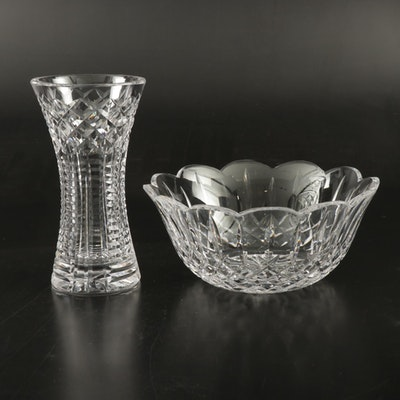 "Waterford Crystal ""Lismore"" Scalloped Bowl and  Vase"