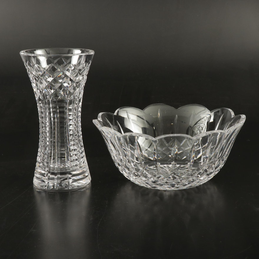 """Waterford Crystal """"Lismore"""" Scalloped Bowl and  Vase"""