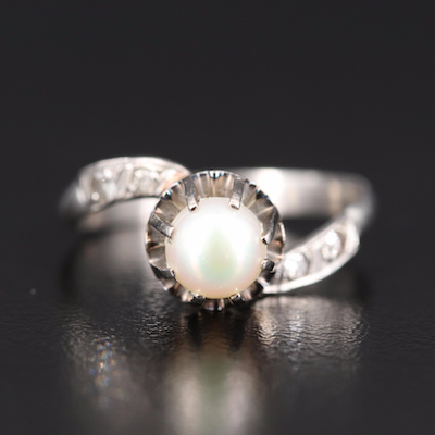 Edwardian Platinum Pearl and Diamond Bypass Ring with 18K Setting