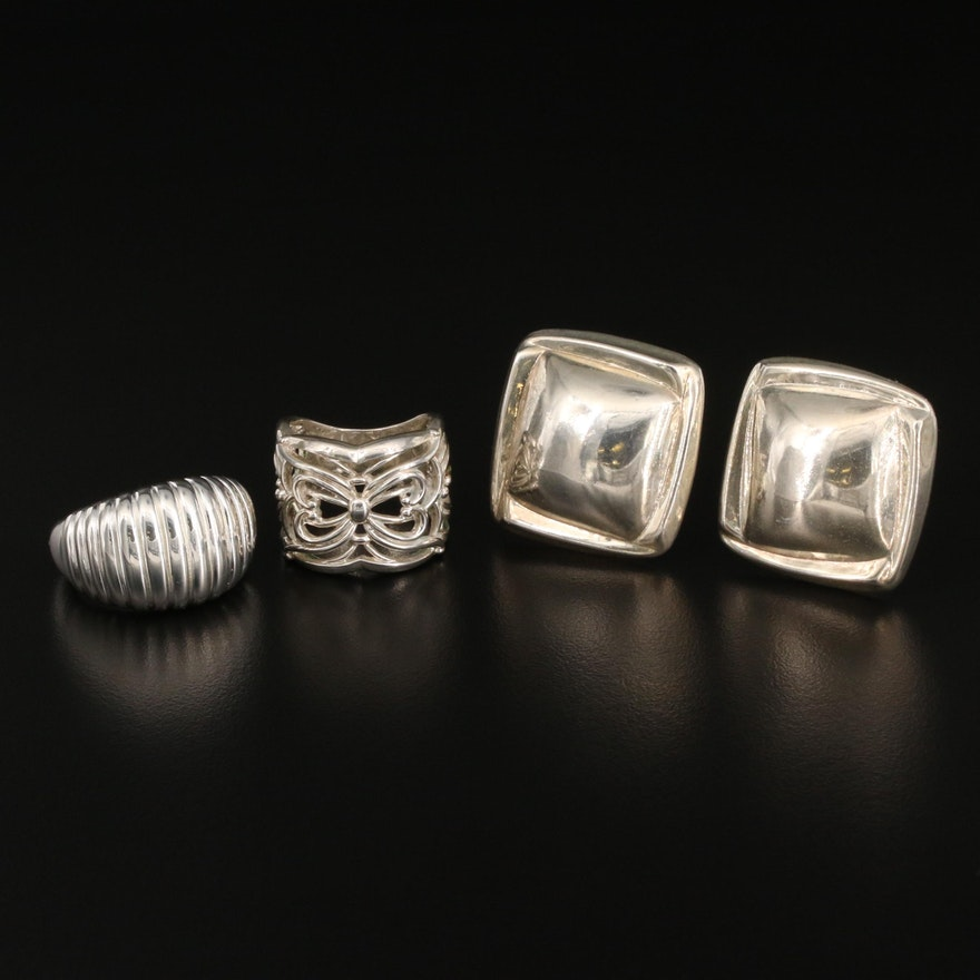 Sterling Silver Square Button Earrings, Openwork and Fluted Rings