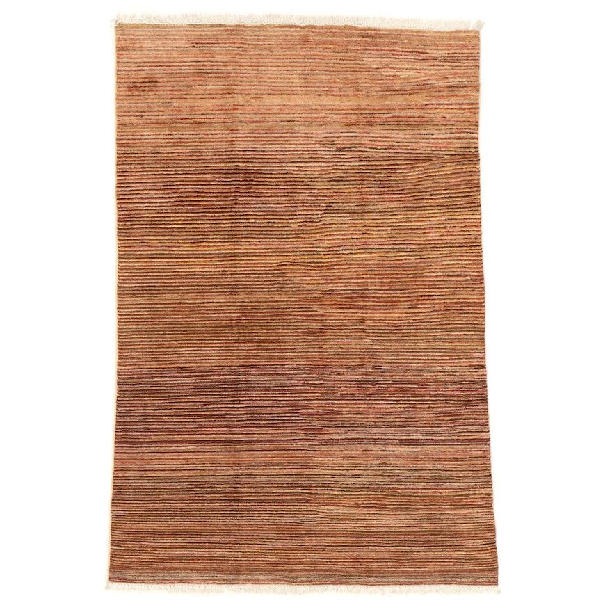 4'5 x 6'7 Hand-Knotted Afghan Gabbeh Area Rug