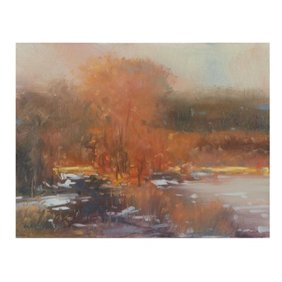 "Stephen Hedgepeth Oil Painting ""Winter Light,"" 21st Century"