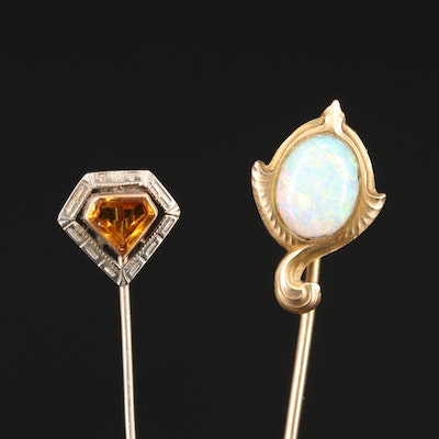 Art Deco and Art Nouveau 14K Stick Pins with Opal and Art Glass