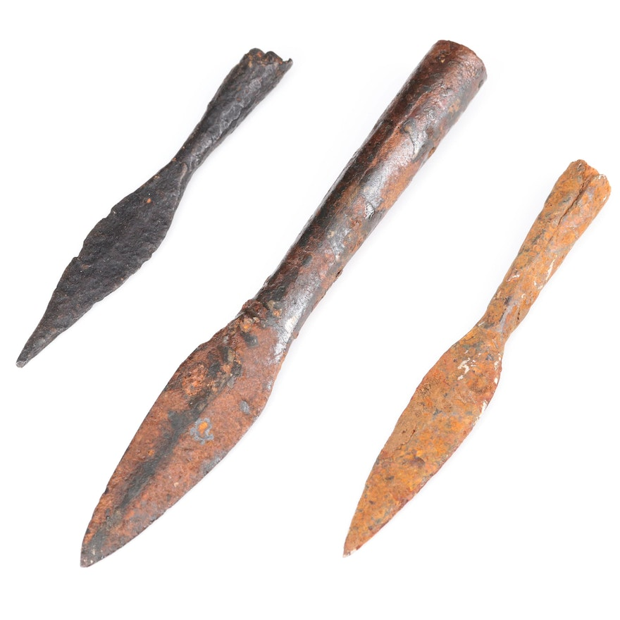 Ancient Socketed Spearhead and Arrowheads, ca. 1st – 4th Century AD