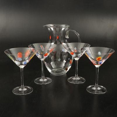 Handblown Millefiori Martini Glasses and Pitcher