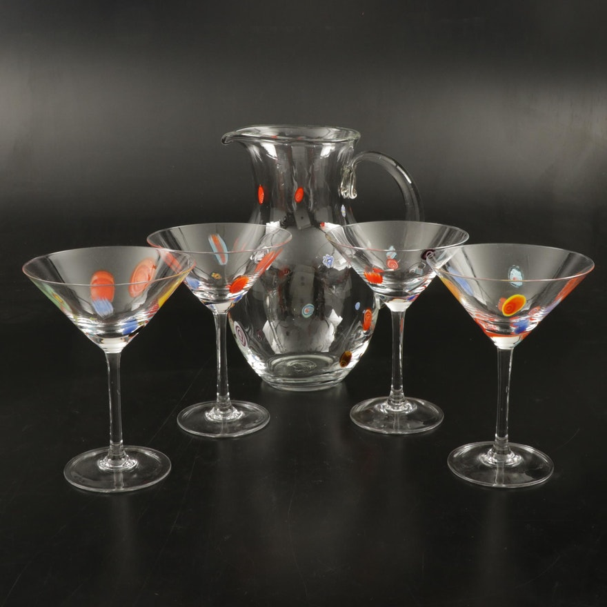 Handblown Millefiori Martini Glasses and Pitcher