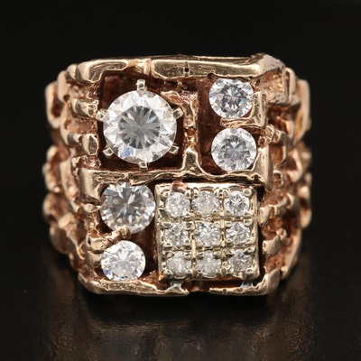 14K Diamond and Cubic Zirconia Nugget Ring