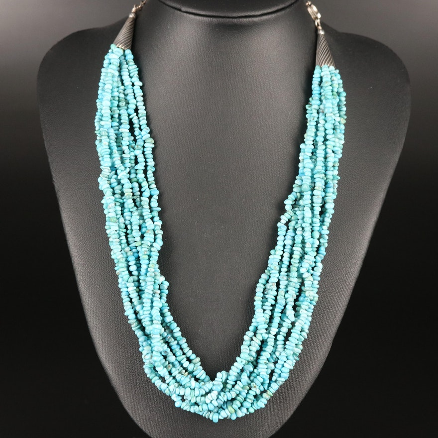 Carolyn Pollack Turquoise Torsade Necklace with Sterling Clasp