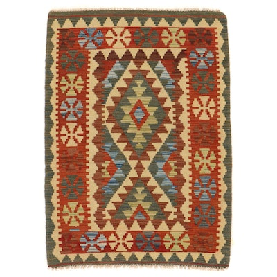 3'2 x 4'5 Handwoven Afghan Kilim Accent Rug