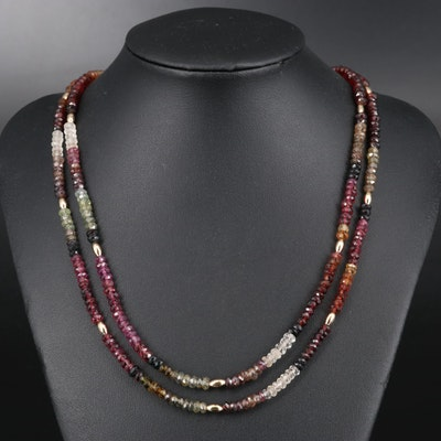 Tourmaline, Garnet and Smoky Quartz Bead Necklace