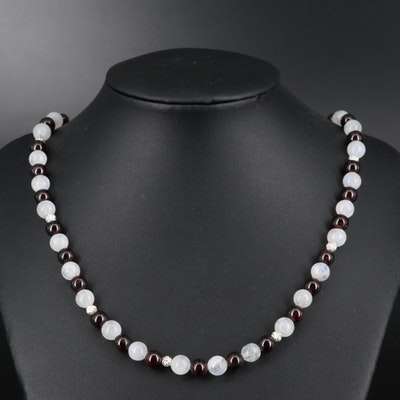 Rainbow Moonstone and Garnet Necklace with Sterling and Cubic Zirconia Accents