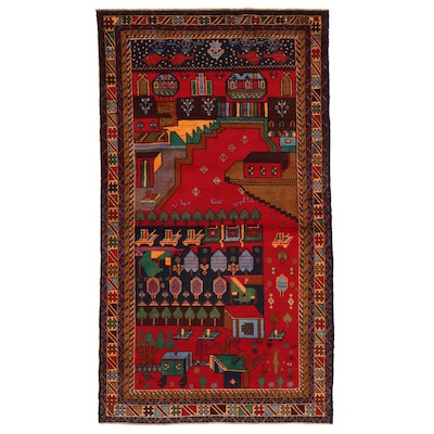 3'9 x 6'8 Hand-Knotted Afghan Pictorial War Rug