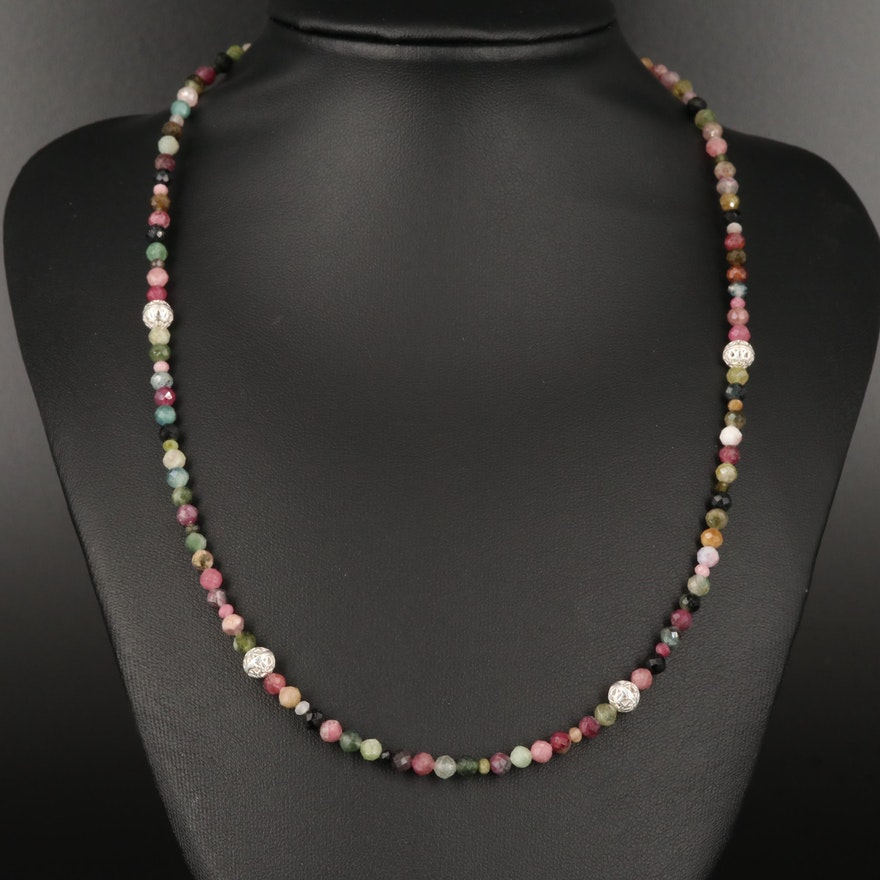 Sterling Tourmaline Beaded Necklace