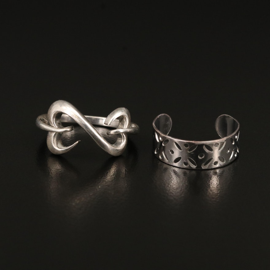 Sterling Open Heart Ring with Toe Ring