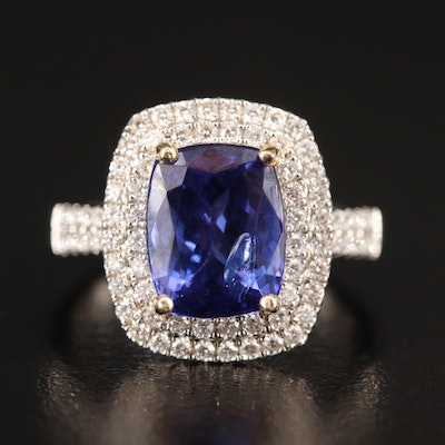 14K 4.61 CT Tanzanite and Diamond Double Halo Ring