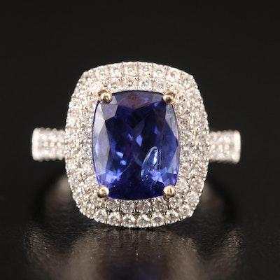 14K 4.61 CT Tanzanite and Diamond Double Halo Ring