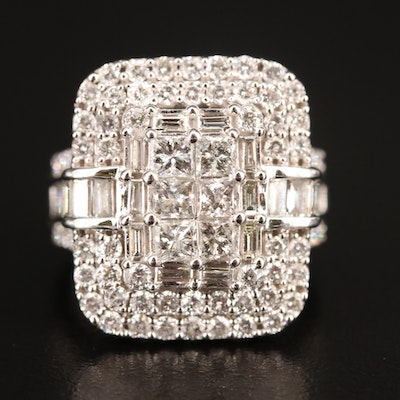 14K 3.26 CTW Diamond Geometric Cluster Ring
