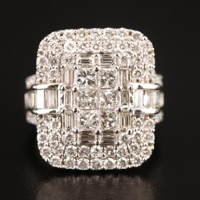 14K 3.26 CTW Diamond Geometric Cluster Ring