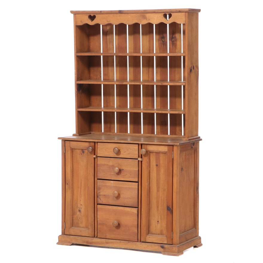 American Primitive Style Pine Two-Piece Cupboard, 20th Century