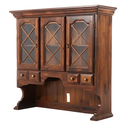 Farmhouse Style Stained Pine Hutch, Late 20th Century
