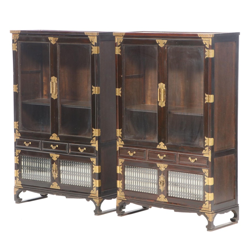 Pair of Korean Brass-Mounted Display Cabinets