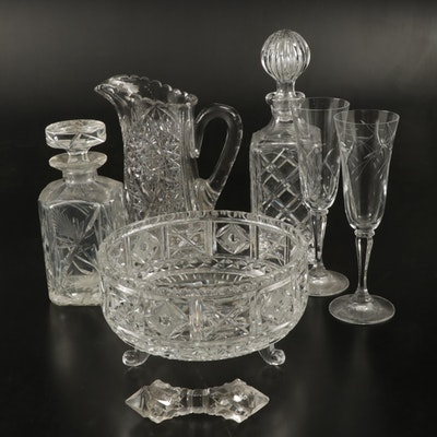 Pressed Glass and Crystal Serveware, Mid to Late 20th Century