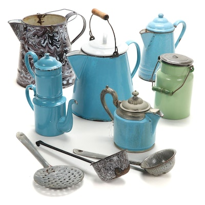 Manning Bowman & Co. Coffee Pot and Other Enamelware, Early 20th Century