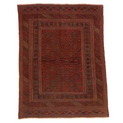 4'8 x 6' Handwoven Afghan Mashwani Mixed Technique Area Rug