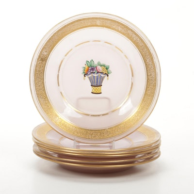 Gilt Rim Painted Glass Dessert Plates, Early to Mid 20th Century