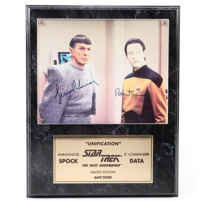 """Leonard Nimoy and Brent Spiner Signed """"Star Trek"""" Print Plaque with COA"""