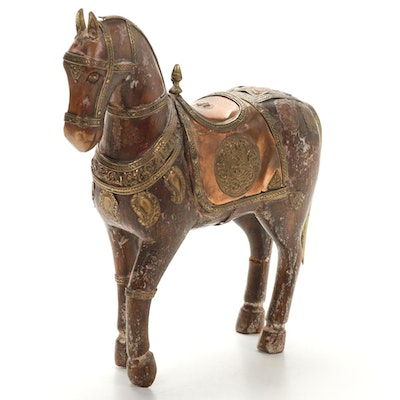 Moroccan Style Wooden Horse with Copper and Brass Accents