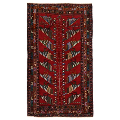 3'6 x 6'1 Hand-Knotted Afghan Baluch Pictorial Area Rug