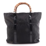 Gucci Tote in Black Nylon with Patent Leather Trims and Bamboo Handles