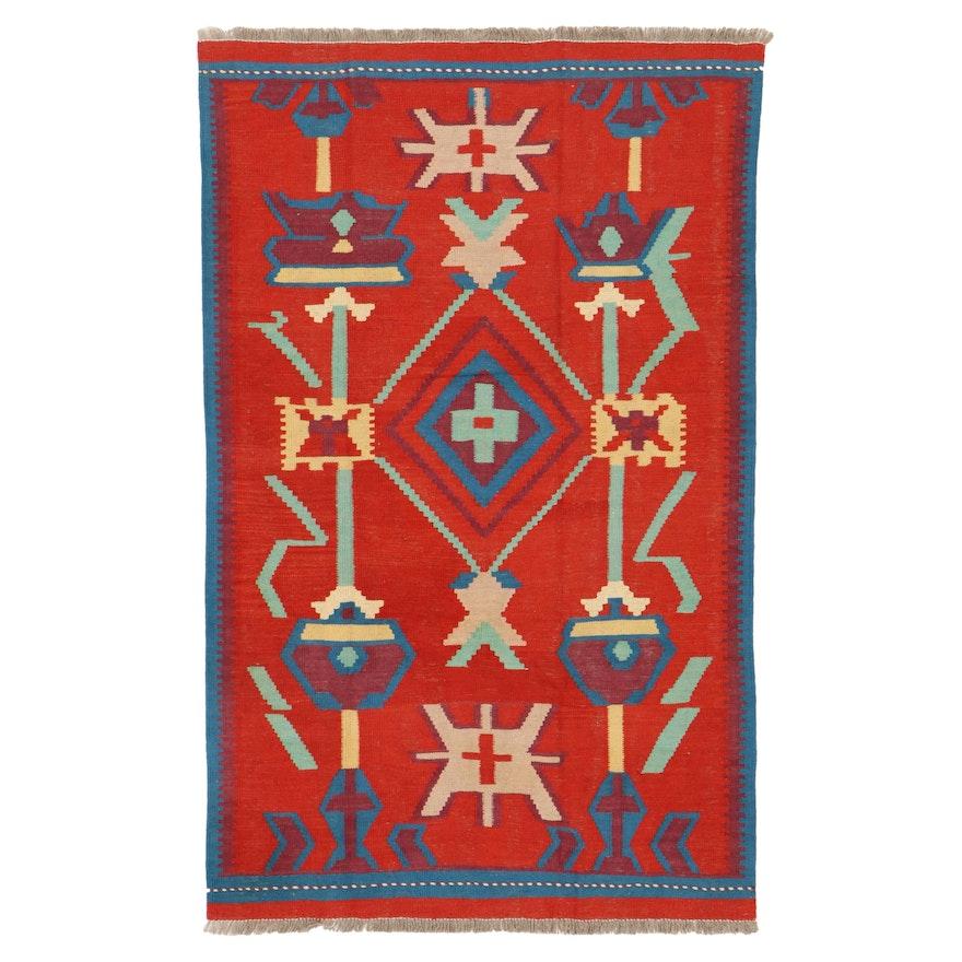 3'11 x 6'5 Handwoven Afghan Village Kilim Area Rug