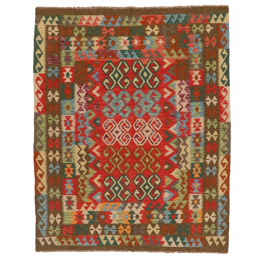5'3 x 6'4 Handwoven Afghan Kilim Wool Area Rug