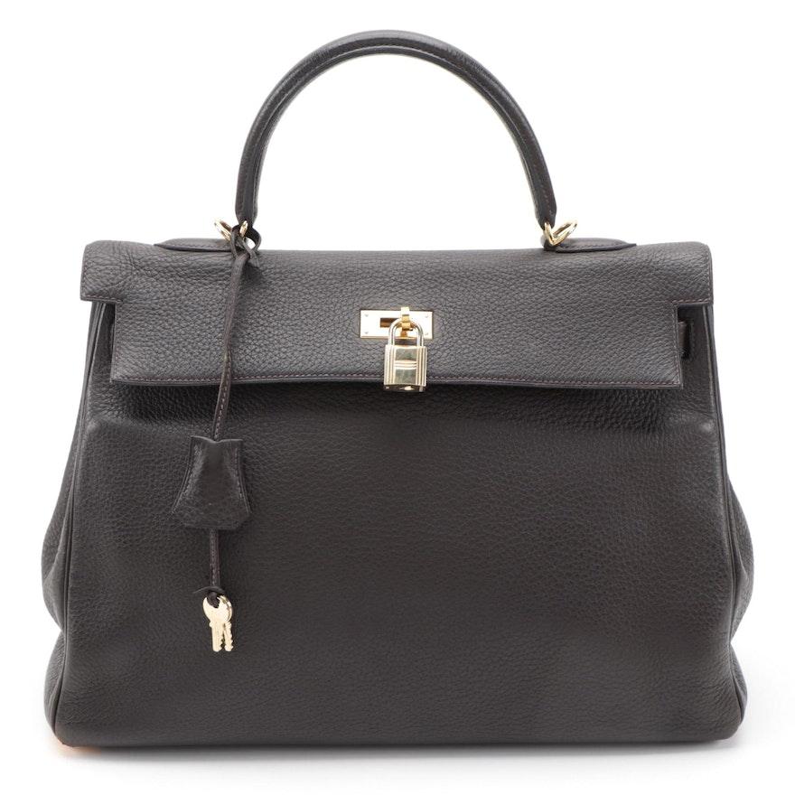 Hermès Kelly 35 Handbag in Ebene Clemence Leather