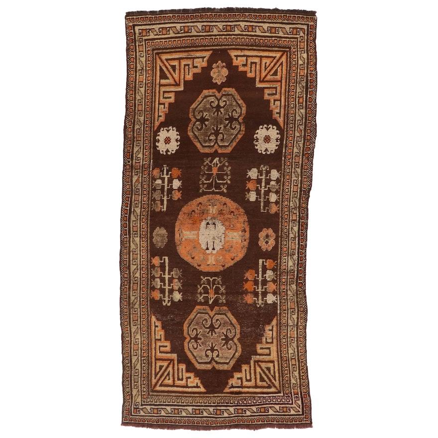 3'9 x 8'4 Hand-Knotted East Turkestan Khotan Wool Long Rug