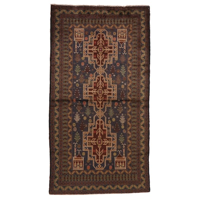 3'7 x 6'10 Hand-Knotted Afghan Baluch Wool Area Rug
