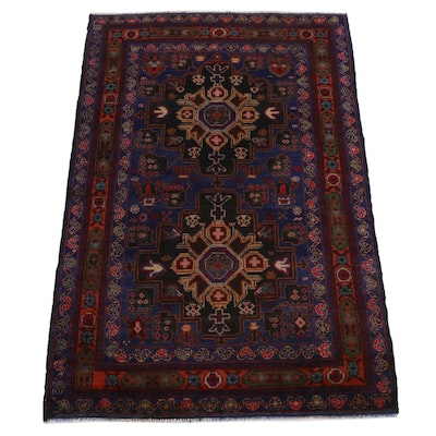 2'11 x 4'6 Hand-Knotted Afghan Baluch Wool Accent Rug