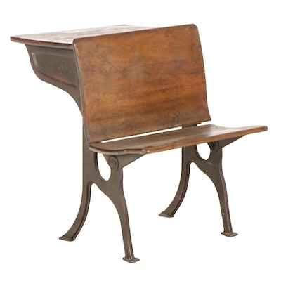 Mixed Wood Students Desk with Steel Base, Early to Mid-20th Century