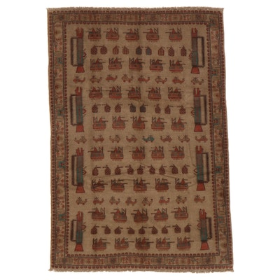 6'7 x 9'8 Hand-Knotted Afghan Pictorial War Rug