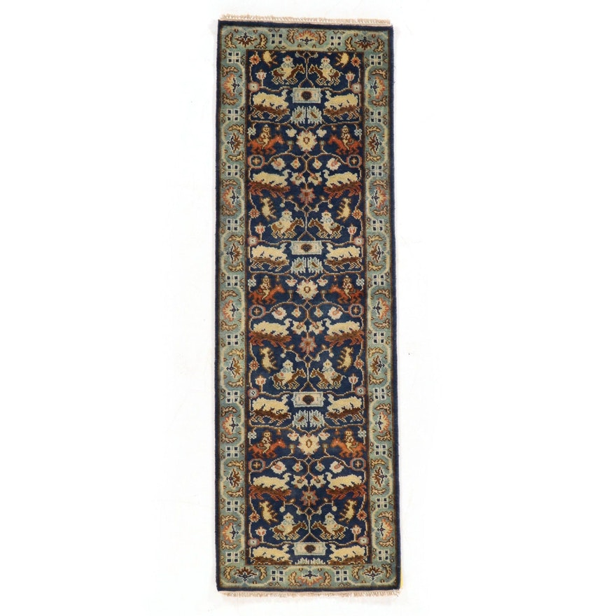 2'6 x 8'0 Hand-Knotted Indo-Persian Tabriz Pictorial Carpet Runner